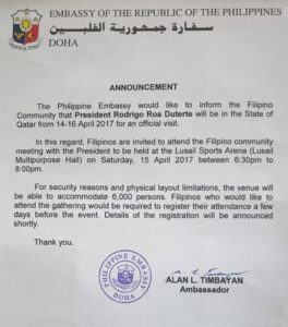 qatar phil embassy announcement duterte