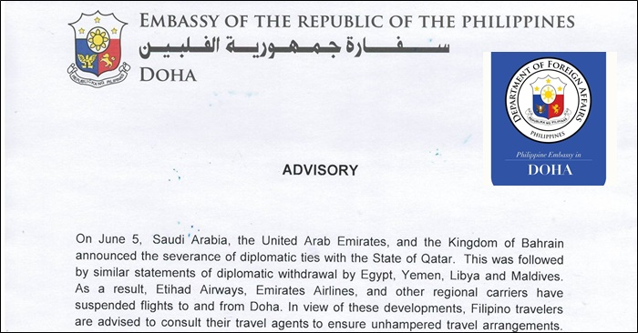 Phil Embassy of Doha Issues Advisory on Severance of Diplomatic