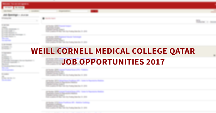 Weill Cornell Medical College Careers 2017 - Qatar OFW