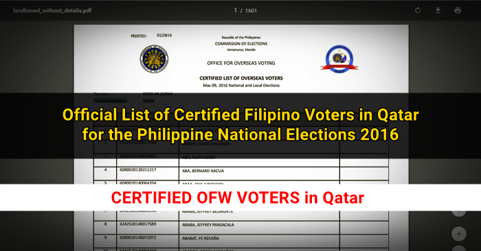 List of Certified OFW Voters in Qatar for 2016 Philippine