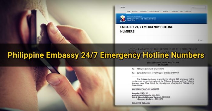 Philippine Embassy 24/7 Emergency Hotline for Filipinos in Qatar