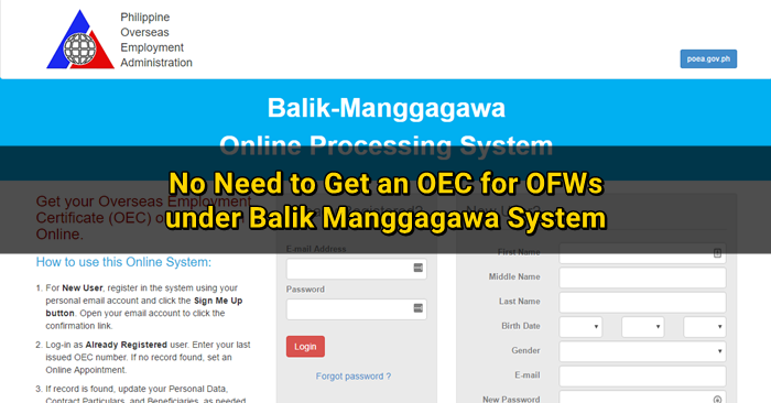 No More OEC for Returning OFWs under BM Online Program | Qatar OFW