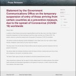 QATAR government entry ban countries covid-19